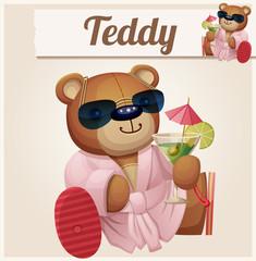 Teddy bear in resort. Cartoon vector illustration. Series of
