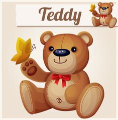 Teddy bear and yellow butterfly. Cartoon vector illustration