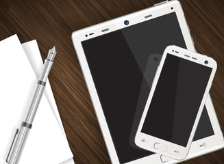 Smartphone and tablet on wooden table with paper and pen  vector illustration