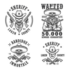 Set of sheriff and bandit emblems