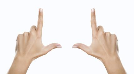 Hände zeigen Rahmen