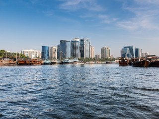 View of Deira Dhow Wharfage in Rigga Al Buteen from the Creek in Dubai, United Arab Emirates