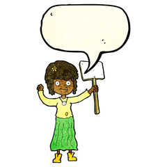 cartoon hippie girl with protest sign with speech bubble