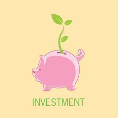 Piggy bank investment with tree leaf growth