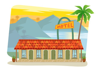 Motel - Cute motel with palm tree at the front and landscape of mountains, sea and palm trees in the background. Eps10