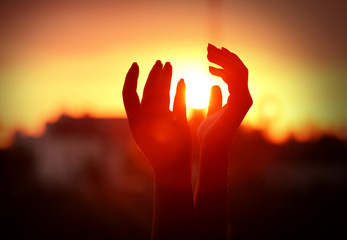Female hands on sunset background