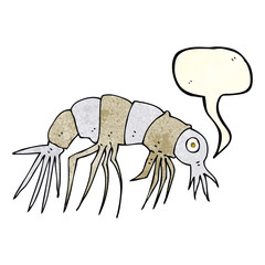 cartoon shrimp with speech bubble