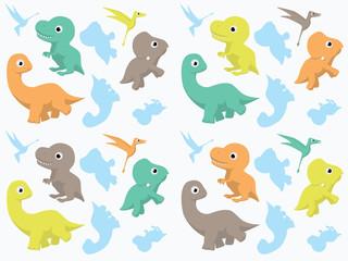 Dinosaurs Wallpaper Vector Illustration 4
