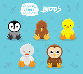 Baby Birds Doll Cartoon Vector Illustration