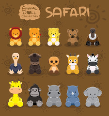 Animal Dolls Safari Set Cartoon Vector Illustration
