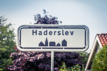 Haderslev city sign in the summer