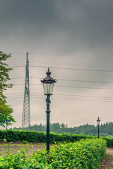 Vintage lamp in cloudy weather