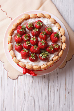 French Fresh Strawberry charlotte cake. vertical top view