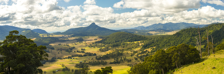Carr's Lookout overlooking the mountains and fields in the Scenic Rim, Queensland during the day