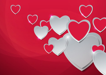 Valentines Day. Hearts Cut from Paper