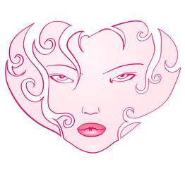 Curly Girl Face Heart