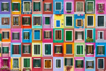 Obraz Abstract colorful windows on the island of Burano Venice Italy - fototapety do salonu