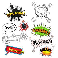 Comic speech bubbles sound effects, cloud explosion illustration