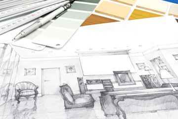 designers desk with a living room sketch and drawing tools