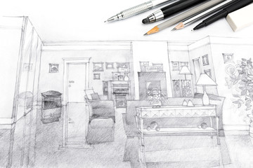 designers creative workspace with architecture hand-drawn sketch in black and white