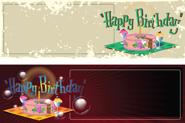 Vector illustration. Template birthday greetings. Cake, ice crea
