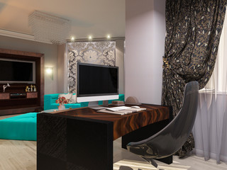 3D illustration of a drawing room in style of an art deco. Angul