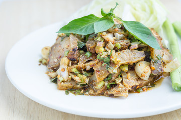 Thai spicy minced pork salad, thai food