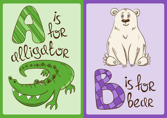 Children Alphabet with Funny Animals Alligator and Bear.