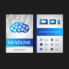 Flyer or Cover Design Template - Business, Networks, Cloud Computing - Corporate Identity Concept