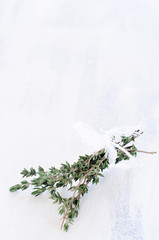 Thyme of rustic background
