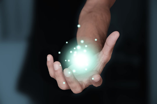 mano, energia, luce, potenza, magia