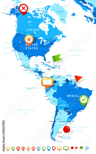 North and South America map - highly detailed vector illustration ...