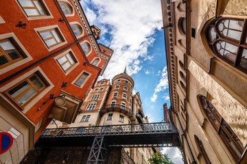 Classic architecture on narrow streets of Stockholm, Sweden