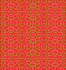 Golden seamless Chinese window tracery lattice geometry line background.