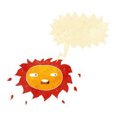cartoon sad sun with speech bubble