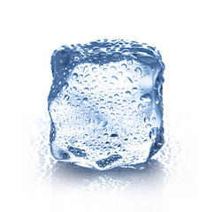 ice cube with water drops close-up isolated on a white background
