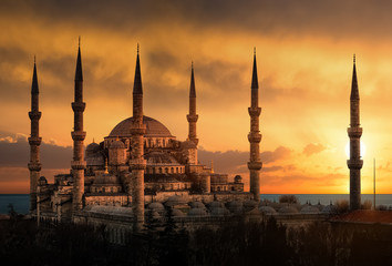 Aluminium Prints Turkey The Blue Mosque in Istanbul during sunset