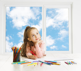 Child Drawing Dreaming Window, Creative Girl Thinking Inspiring