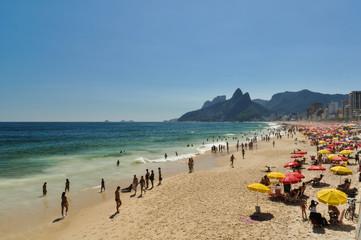 Crowded Ipanema Beach on a Summer Day
