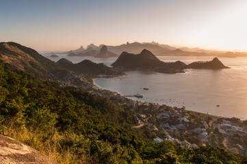 Fototapete - Beautiful View of Rio de Janeiro Mountains by Sunset