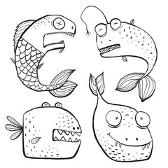 Fun Black and White Line Art Fish Characters Coloring Book