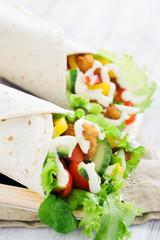 Chicken tortilla with salad