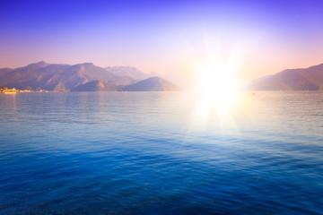 amazing golden sunset in Marmaris