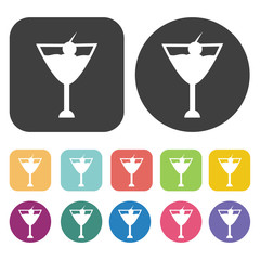 Cocktail icons set. Vector Illustration eps10