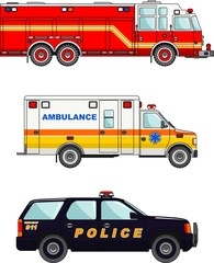 Fire truck, police and ambulance cars isolated on white