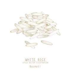 Vector illustration of white rice pile. Asian traditional food o