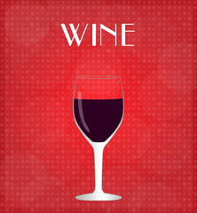Drinks List Red Wine with Red Background EPS10