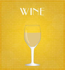 Drinks List White Wine with Golden Background EPS10