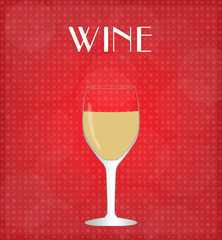 Drinks List White Wine with Red Background EPS10