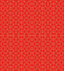 Golden seamless Chinese window tracery lattice geometry line pattern.